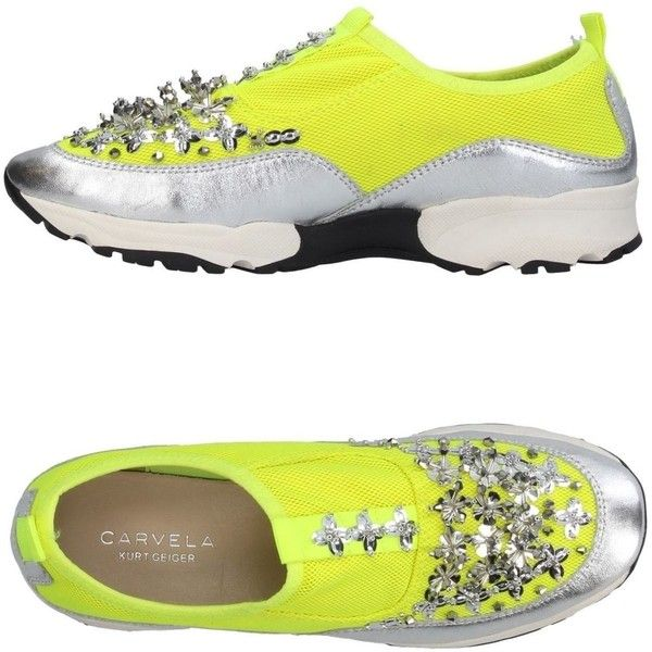 Carvela Sneakers (8,180 DOP) ❤ liked on Polyvore featuring shoes, sneakers, yellow, yellow leather shoes, beaded shoes, leather flat shoes, leather trainers and animal trainer