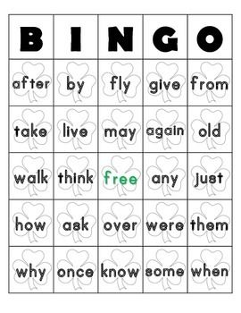 St. Patricks day Bingo Sheets for 1st Grade Dolch Words4 bingo sheets free space