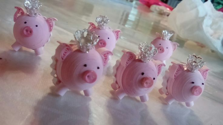 Quilling pig rosa tutu filigrana cerdito