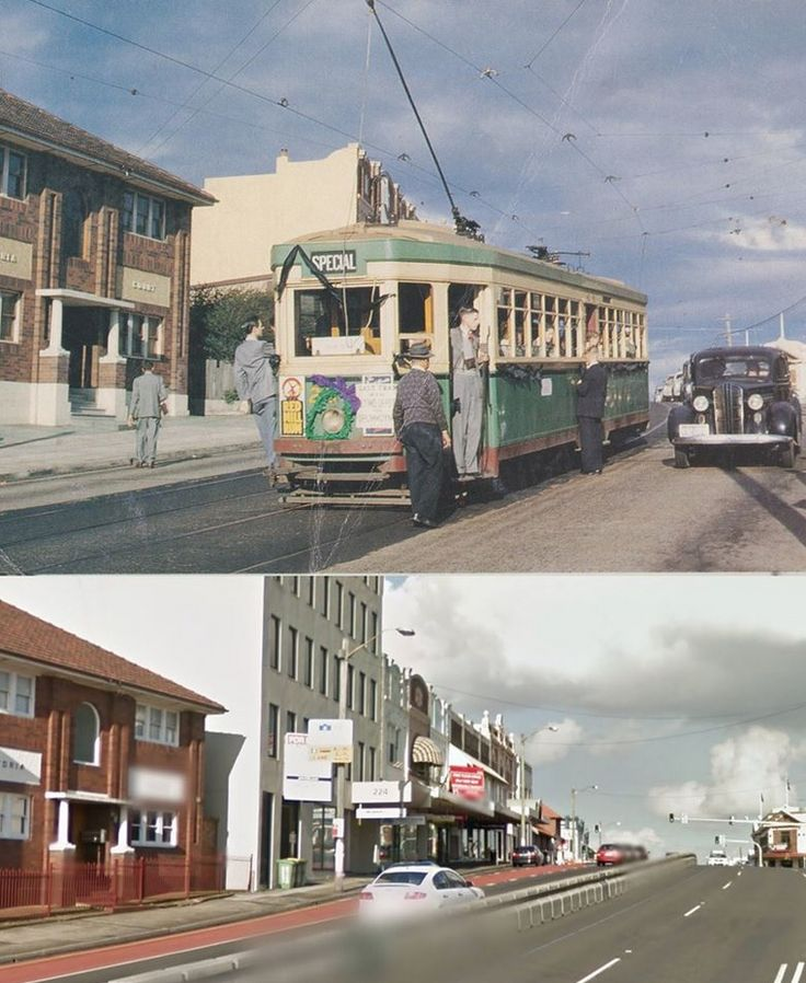 Victoria Road, Drummoyne in 1953 and 2013. The 1953 photo shows the last tram on the Ryde Line on 28 June. [1953 - from the cover of the book The Ryde Line of the Sydney Tramway System by David R. Keenan MCIT/2013 Google Street View. By Phil Harvey]