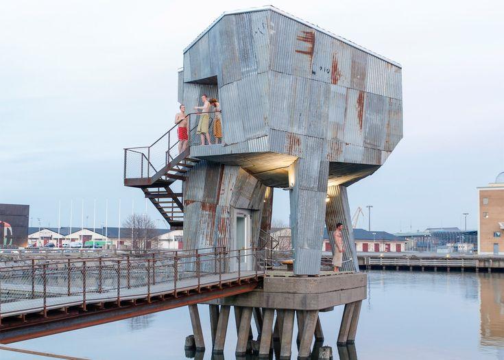 Raumlabor builds an industrial-looking sauna in Gothenburg.