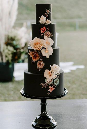 30 STYLISH BLACK WEDDING CAKE FOR UNIQUE OCCASIONS #BlackCake #WeddingCake #Dessert