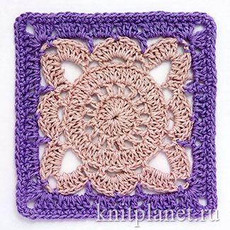 Большой и красивый квадрат, связанный крючком. Хорош как в одном, так и в двух цветах. Схема вязания.