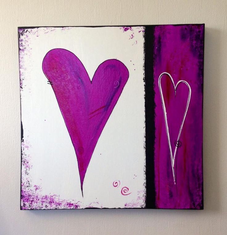 Akrylmaling. Hjerter 60x60 cm, 850,- Maler på bestilling