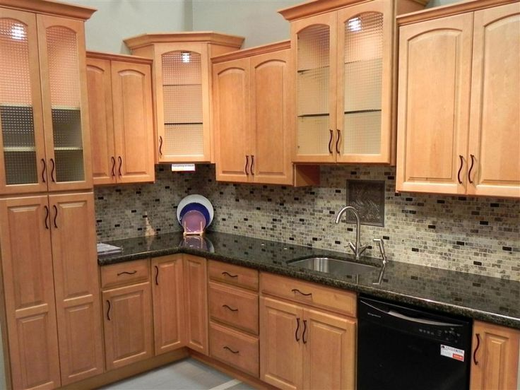 Kitchen, : Extraordinary L Shape Kitchen Decoration With Light Maple Kitchen Cabinet Along With Brown Glass Tile Kitchen Backsplash And Black Granite Counter Tops