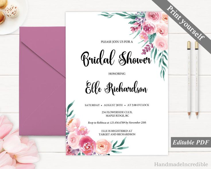 Pink and Purple Flower Bridal Shower Invitation Template. Printable Floral Bridal Shower Invitation. Blush Wreath Invitation. Download PDF http://etsy.me/2Cle2sd #papergoods #pink #bridalshower #purple #bridal #shower #invitation #template #printable