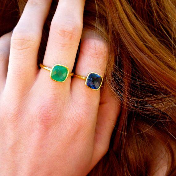Green Onyx Gold Gemstone Ring by EllaTaylorDesign on Etsy