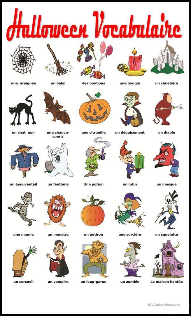 Halloween Vocabulaire fiche d'exercices - Fiches pédagogiques gratuites FLE
