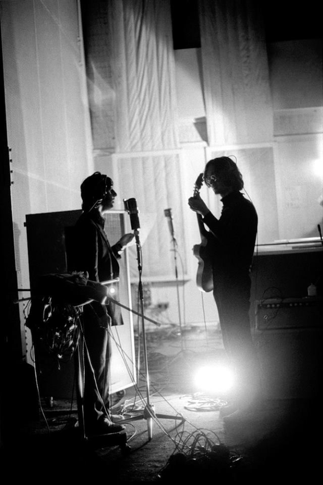 "Abbey Road studios 1968 / John & i think Ringo -- working on WHite Album perhaps -- every Beatles record had a MAJOR song that was custom written for Ringo & his 'sound', his 'range'. Ringo sang ""When I'm 64"" / ""Octopus's Garden"" / ""Act Naturally"" / ""Boys"" / etc... There was ALWAYS one OR two George Songs too ... the rest were John & Paul."