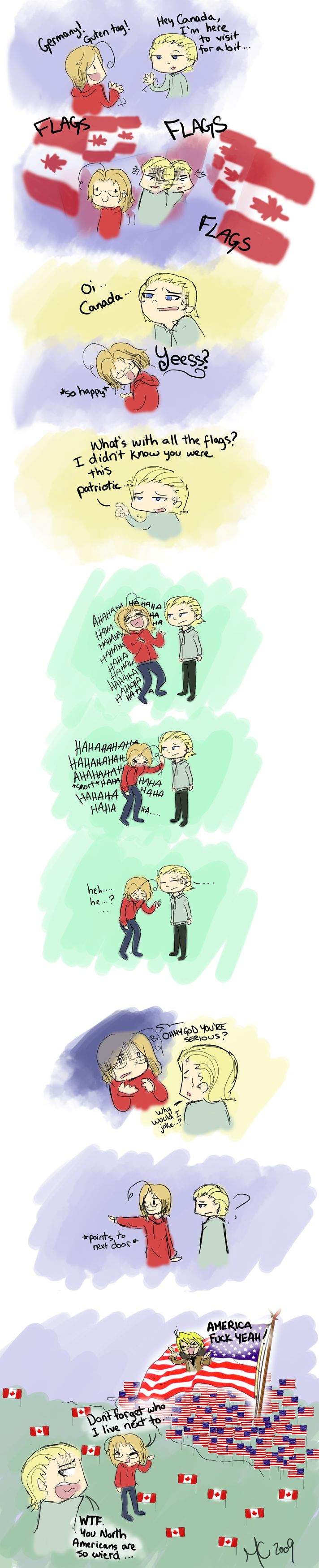 """Germany's visit -APH by KittyMira.deviantart.com on @deviantART - lol Yep, that's certainly true enough. The funny thing is that we Canadians see our flag-waving patriotism as """"reasonable"""" and """"understated"""" compared to the States :P"""