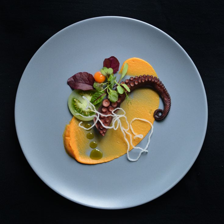 Octopus, Carrot Puree and Ginger, Tomato, Herbs, Sesame Oil