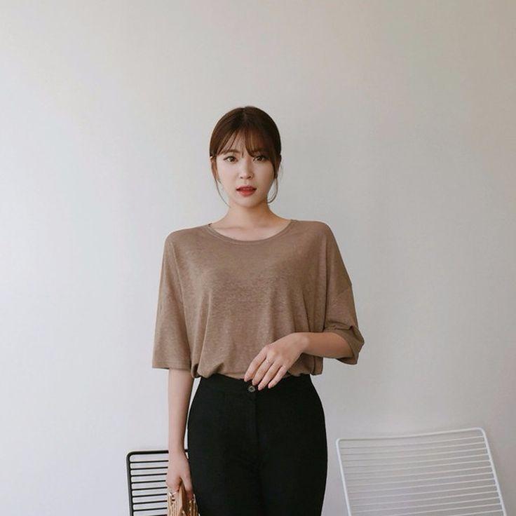 ♡リネンブレンドラウンドネック半袖Tシャツ♡ #レディースファッション #ファッション通販 #ファッショントレンド #新作 #最新 #モテ服 #韓国ファッション #韓国レディース通販 #ootd #wiw  #fashionaddict #womensfashion #fashion  https://goo.gl/TB0gFL