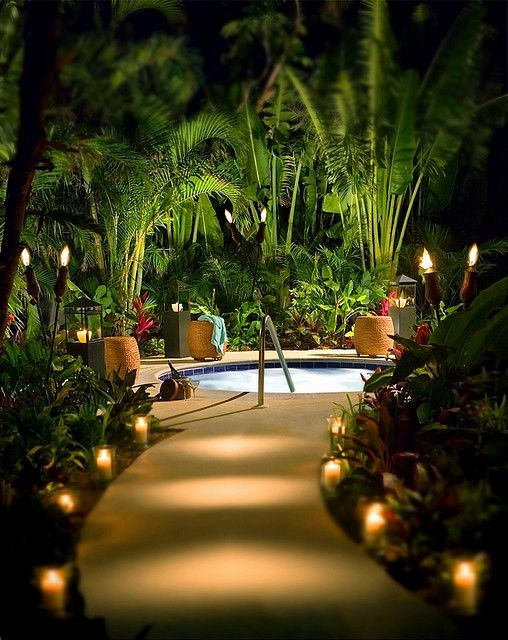 Built in spa with tropical foliage for privacy