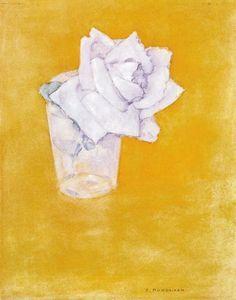 rose blanche dans un verre - (Piet Mondrian)