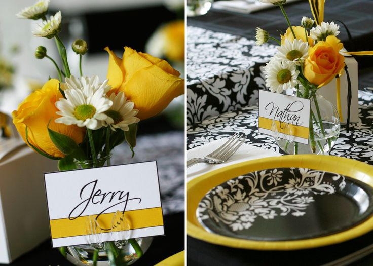 Medical School Graduation Dinner || black and white damask with yellow accents