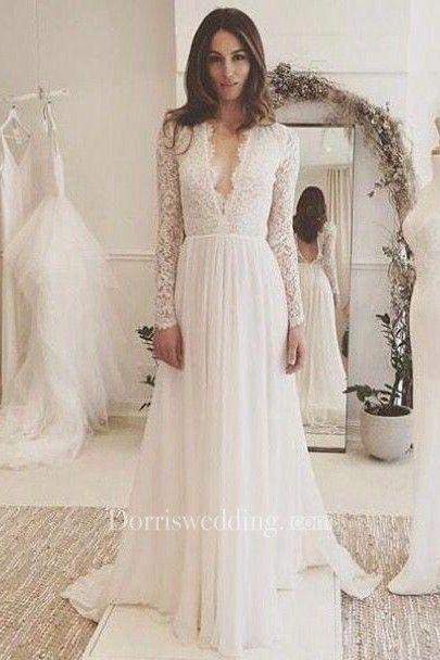 V-neck Long Sleeves Backless Ivory Chiffon Wedding Dress with Lace ...