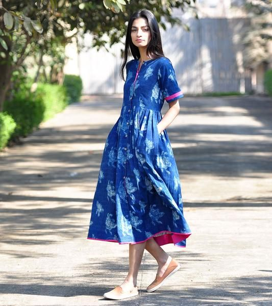 Blue bird buttoned dress