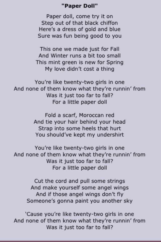 paper dolls lyrics Lyrics to the song paper doll, performed by mills brothers.
