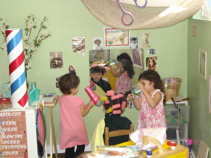 Changing the #Dramatic_Play area of a #Creative_Curriculum for #Preschool classroom adds allows children to assume new roles. Be sure to cut the cords from old hair dryers and curling irons.  Also, don't forget to add signs, price lists, appointment books for environmental print and a literacy focus.