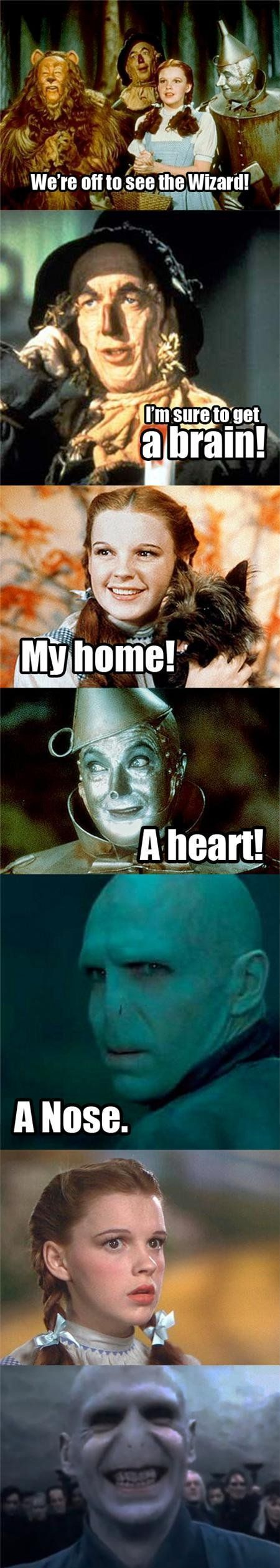 We're off to see the Wizard!: Voldemort, Harry Potter Jokes, Laugh, Harry Potter Memes, Harrypotter, Things, Wizards Of Oz, So Funny, Nose