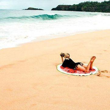 Women Summer Round Watermelon Printing Beach Towel Multi-Purpose Sunscreen Shawl Scarf at Banggood