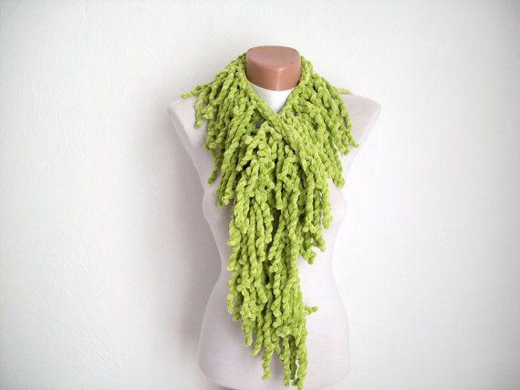 Green  knit scarf  soft velvet  Winter accessories  Fall by nurlu, $15.00