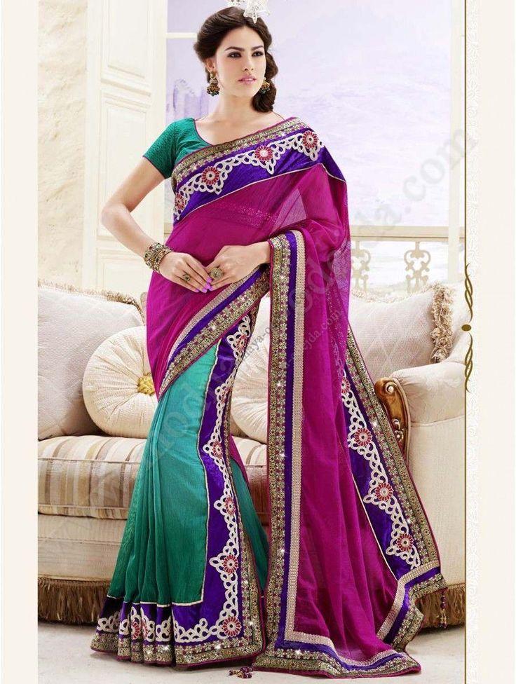 Ярко-розовое и сине-зелёное лехенга-сари из хлопка, украшенное вышивкой, вышивкой люрексом, скрученной шёлковой нитью