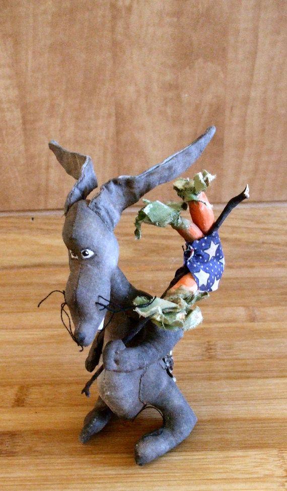 Primitive Easter Rabbit Art Doll  Jack Rabbit by Skunkhollow