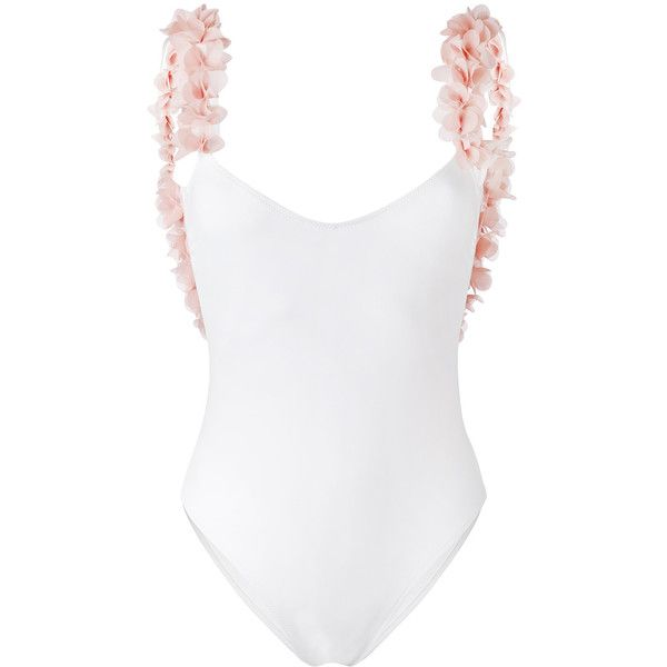 La Reveche petals applique swimsuit ($193) ❤ liked on Polyvore featuring swimwear, one-piece swimsuits, white one piece swimsuit, white bathing suit, bathing suit swimwear, spandex swimwear and swim suits