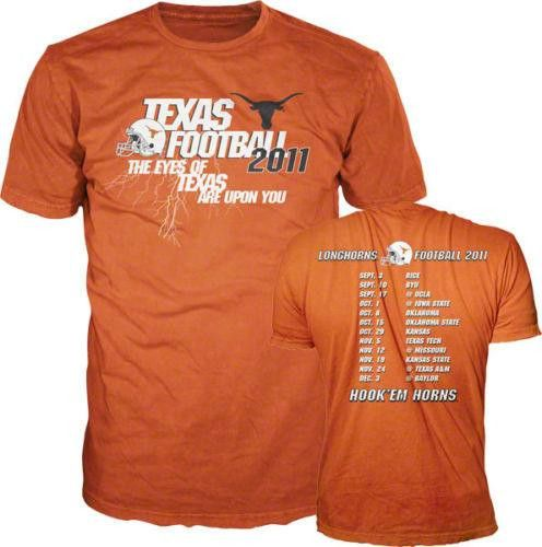Texas Longhorns 2011 Football Schedule t-shirt NWT DRMS Apparel 2XL XXL new NCAA