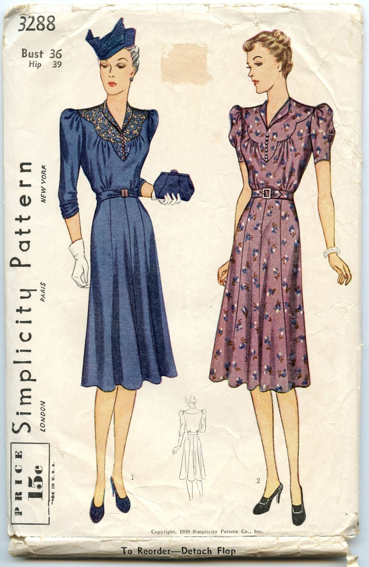 1930s vintage dress pattern simplicity 3288 womens dress with scalloped yoke bust 36 patterns. Black Bedroom Furniture Sets. Home Design Ideas