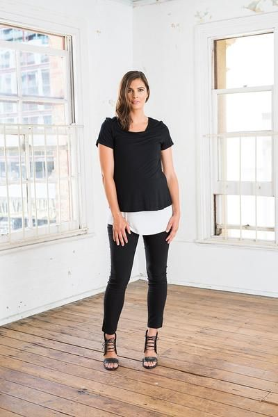Lax Feed Top (available in Black & White). Street style, modern maternity clothes. Breastfeeding/nursing top.