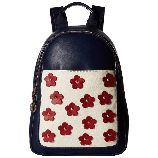 Tommy Hilfiger Tommy Flower Backpack (Navy) Backpack Bags ($55) ❤ liked on Polyvore featuring bags, backpacks, navy, fake bags, tommy hilfiger backpack, strap backpack, zipper bag and backpack bags