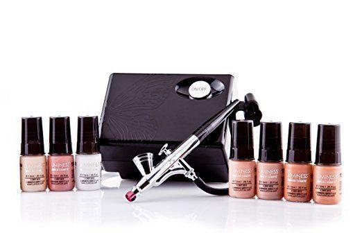 Airbrush Makeup Kit Luminess Air System Foundation Cosmetic Starter Medium 7 Pcs
