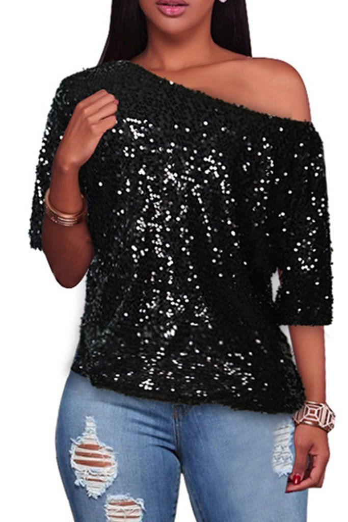 Half Sleeve Off One Shoulder Sequin Top Whatwears In