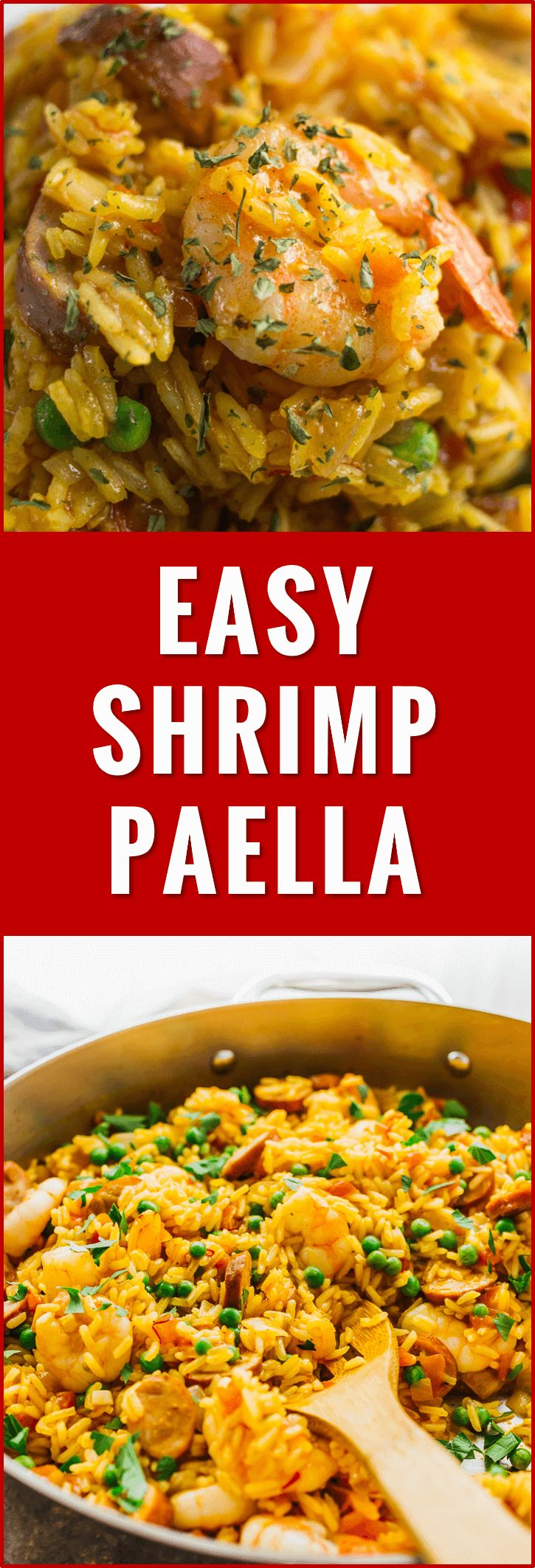 Easy shrimp paella with smoked chicken sausage - This is my everyday paella: an easy one pot meal with shrimp, smoked sausage, tomatoes, onions, peas, garlic, and saffron. recipe, seafood, easy, meat, chicken, authentic, spanish, party, valenciana, shrimp, receta, traditional, veggie, vegetable, chorizo, rice, pan, spain, sides, barcelona, espanola, dinner, best, recette, rapide, original, mexicana, restaurant, de pollo