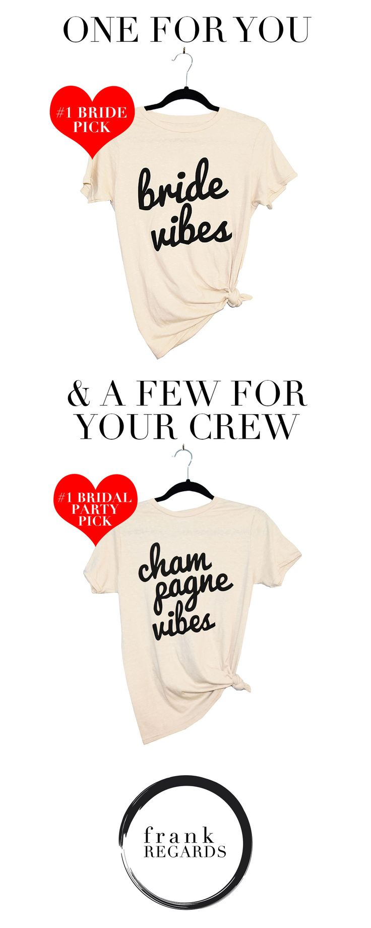 Bride and Bridesmaid shirts you and your crew will love! Super cute and super soft.