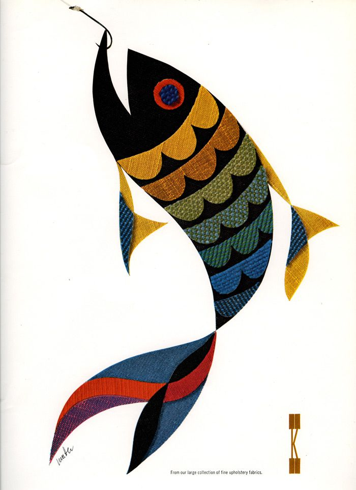 Knoll Herbert Matter fish illustration but maybe inspiration for an appliqued sea project?