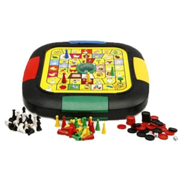 Comprar Juegos de Mesa 6 en 1 | Best 6 in 1 Chess Game al mejor precio. Algunos de los grandesjuegos de mesapor excelencia, eljuego de la oca,elajedrez, elbackgammon, lasdamas, lasdamas chinasyserpientes y escaleraspor fin reunidos en un solotableromuy práctico con espacio para guardar las fichas y los dados y no perderlos nunca más. Una buena idea de regalo para compartir tardes de diversión en familia. Ideales para fomentar lainteligenciade los niños. Para 2 jugadores. Edad…