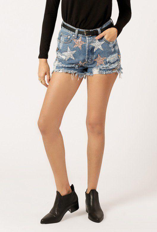 Azalea Embroidered Star Sparkle Short