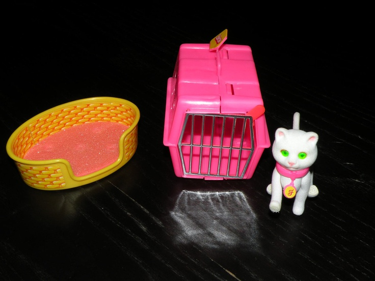 1980's Barbie Cat with Crate. Also had a dish, food bag and scratching post.