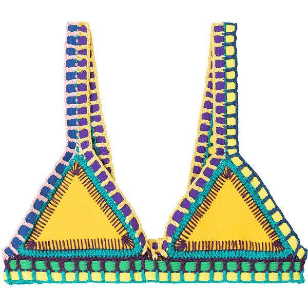 Kiini Ro Crochet Trimmed Bikini Top ($185) ❤ liked on Polyvore featuring swimwear, bikinis, bikini tops, yellow, neon yellow bikini, neon bikini top, crochet swim top, macrame bikini and tankini tops