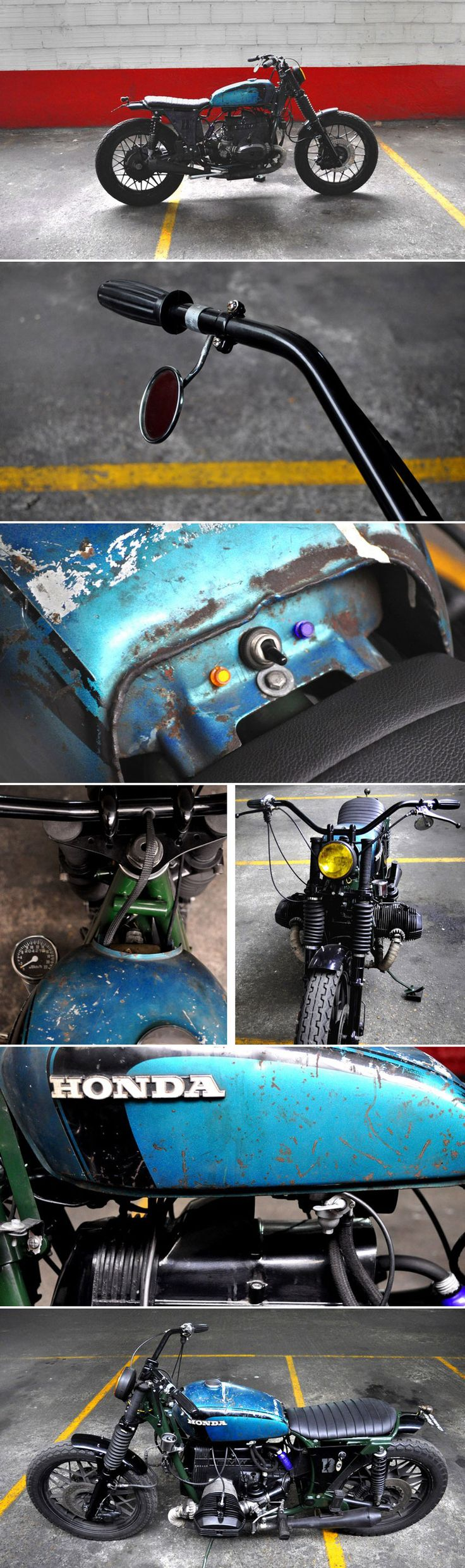 "BMW ""Green Hornet"" by Blitz Motorcycles - http://blitz-motorcycles.com/ Honda tank from the 70's simplified electric wiring Doherty levers 40's bicycle rear tail light (light and stop) headlight from a vintage race car (70's) handcrafted ""Blitz Motorcycles"" battery covers High temperature mat black powder coated ""megathon"" short mufflers Triumph T140 US handlebar Dunlop K81 tires"