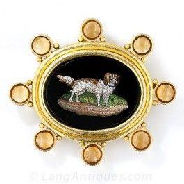 Elizabeth Locke Micro Mosaic Dog Brooch and Pendant