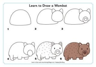 Learn to Draw a Wombat, a Crocodile, a Kangaroo, a Koala, a Kookaburra, a Platypus, a Shark, an Echidna and an Emu.