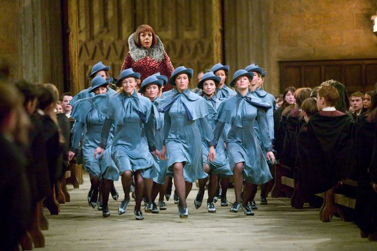Students of Beauxbatons Academy and their headmistress, Olympe Maxime. (Harry Potter and the Goblet of Fire)