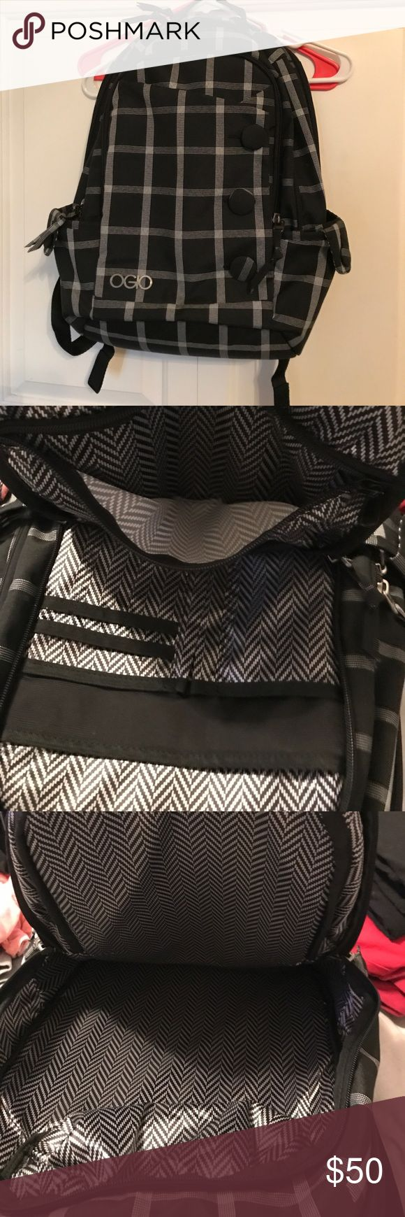 OGIO BackPack 🎒 Black and White plaid backpack with lot of room for your laptop 💻, your tablet or iPad, headphone 🎧, and of course your cell phone with lots more room for your school books 📚 or anything else you need it for. Only used for 3 months and it's in excellent condition ogio Bags Backpacks