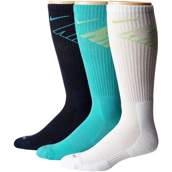 Nike Dri-Fit Fly Crew 3-Pair Pack (Obsidian/Light Retro/Light... ($13) ❤ liked on Polyvore featuring intimates, hosiery, socks, multi, lime green socks, moisture wicking socks, crew socks, dri fit socks and nike socks