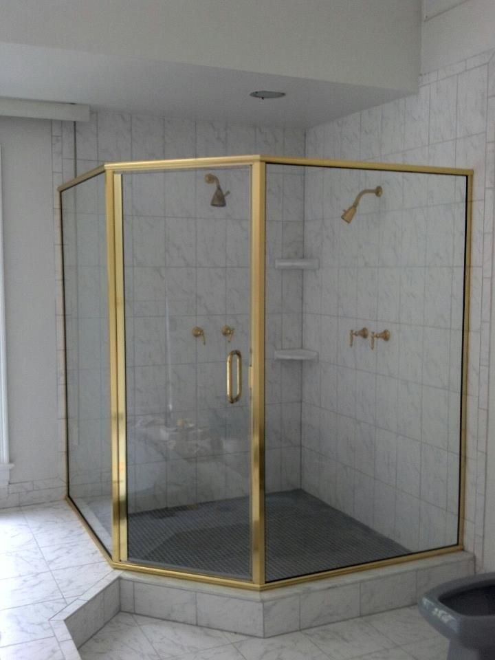 gold paragon neo angle shower door by coastal clear glass