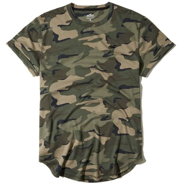 Hollister Must-Have Curved Hem T-Shirt ($20) ❤ liked on Polyvore featuring men's fashion, men's clothing, men's shirts, men's t-shirts, green camo, mens camouflage shirts, mens camo shirts, mens longline shirt, mens longline t shirt and mens crew neck t shirts